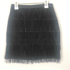 PrettyLittleThing Tiered Fringe Mini Skirt | SZ 4